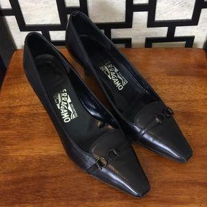 Salvatore Ferragamo black dress shoes with buckle